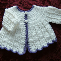 Crochet matinee coat...new baby...( ref F 79)