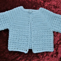 Crochet blue , new baby cardigan. ( ref F 80)