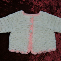 SALE ITEM.....white pink baby cardigan ( ref F 84)