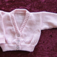 pink knitted baby cardigan with lace edging ( ref f 95)