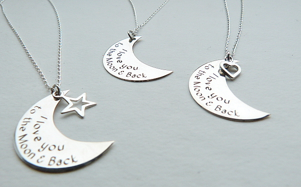 'I love you to the moon and back' solid 925 silver pendant