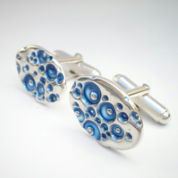 Father's Day Blue Enamel Silver Cufflinks