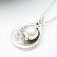 Silver Fingerprint Tiny Teardrop Necklace