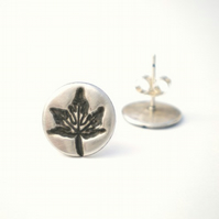 Ivy Leaf Silver Stud Earrings