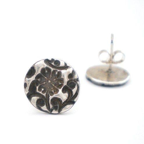 Orange Blossom Floral Silver Stud Earrings