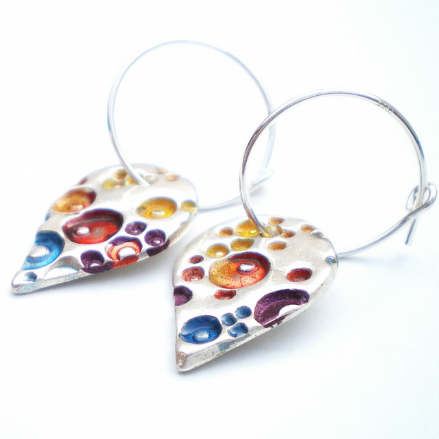 Silver Teardrop Hoop Earrings with Enamel