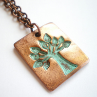 Copper Tree of Life Pendant with Verdigris