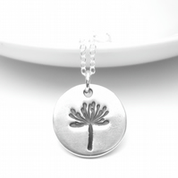 Simple Silver Dandelion Pendant
