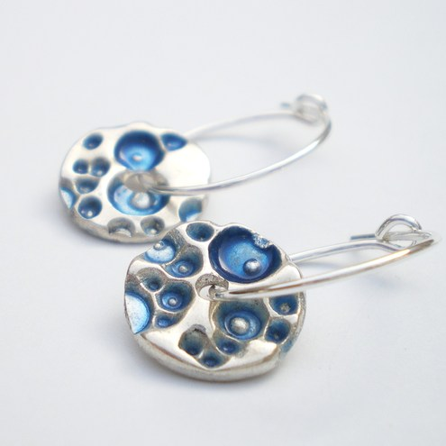 Small Blue Coral Silver Earrings