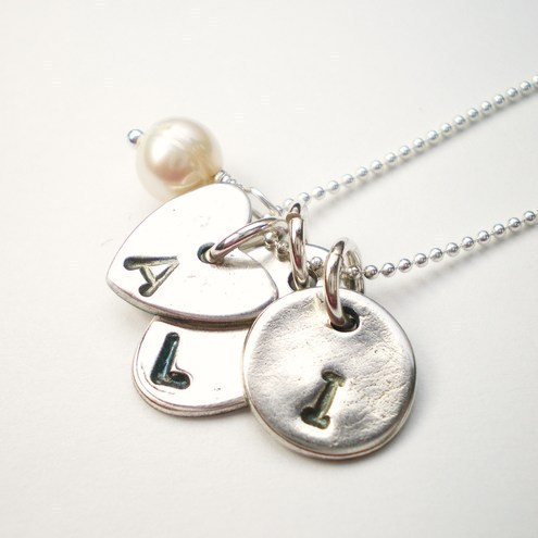 Charms with Initials Silver Necklace, custom made