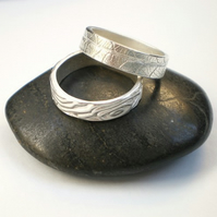 Wood and Leaf Silver Stacker Rings