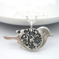Orange Blossom Silver Bird Pendant