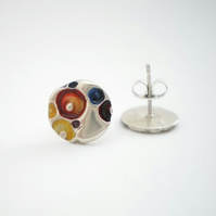 Round Enamel Silver Post Earrings