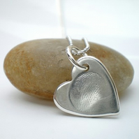 Silver Fingerprint Tiny Heart Necklace