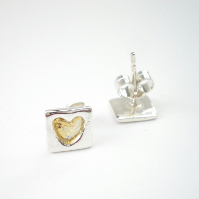 Silver and Gold Heart Earrings