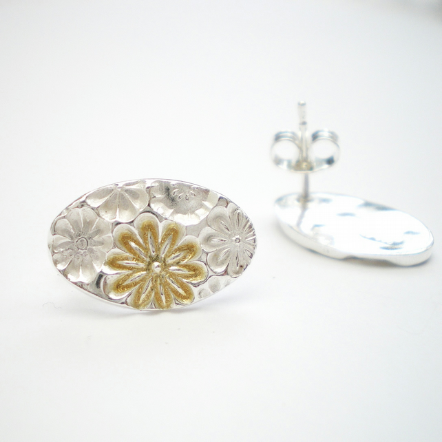Silver and Gold Floral Oval Stud Earrings