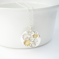 Floral Silver Round Pendant