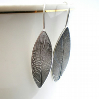 Feather Imprint Long Silver Earrings