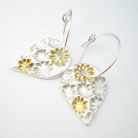 Silver and Gold Floral Teardrop Earrings