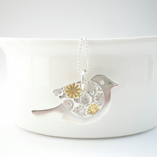 Silver and Gold Floral Bird Pendant