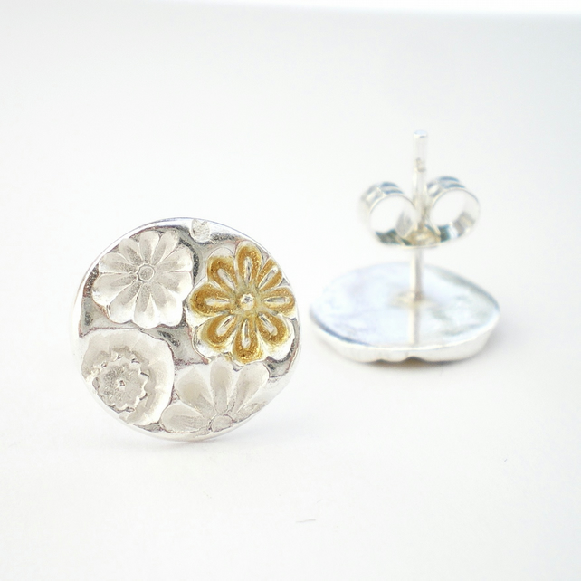 Silver and Gold Floral Stud Earrings