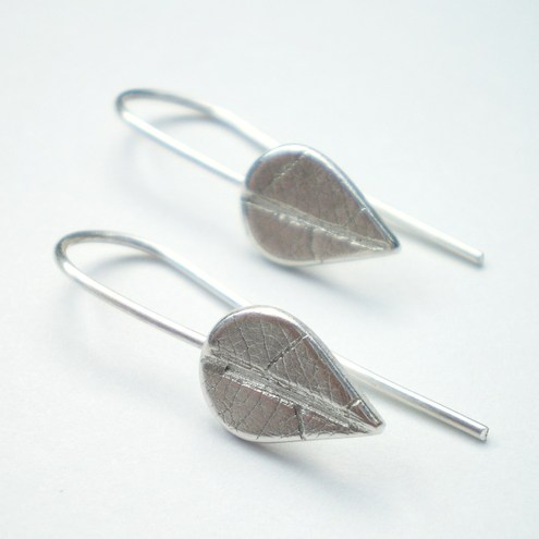 Petite Silver Leaf Earrings