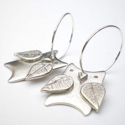 Silver Leafy Owl Earrings