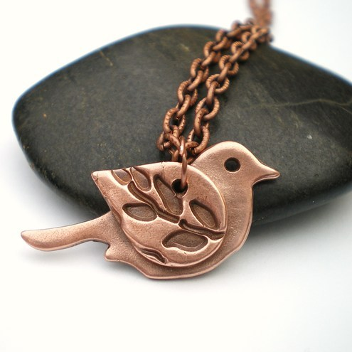 Copper Bird with Leaf Wing
