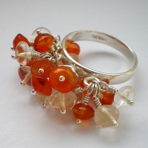 Citrine and Carnelian Sun Burst Cluster Ring