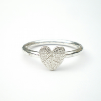 Autumn Leaves Silver Leaf Heart Ring