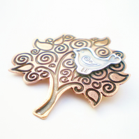 Folklore Silver Bird and Copper Tree Brooch