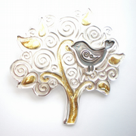 Folklore Silver and Gold Bird and Tree Brooch