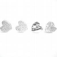 Silver Textured Heart Stud Earrings