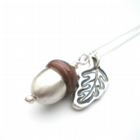 Copper and Silver Acorn Necklace