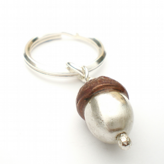 Silver and Copper Acorn Keyring