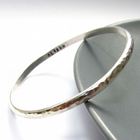 Slim Silver Personalised Bangle
