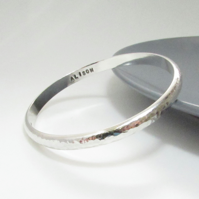 Personalised Heavy Silver Bangle