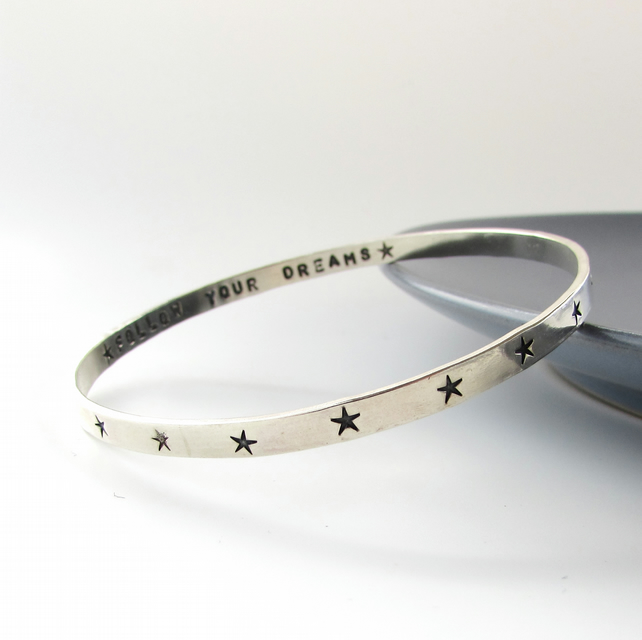 Silver Star Personalised Bangle