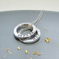 Personalised Mini Circles Silver Necklace
