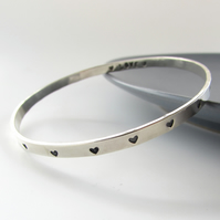 Silver Heart Personalised Bangle