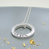 Personalised Mini Circle Silver Necklace
