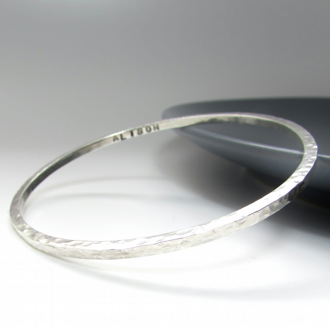 Square Silver Personalised Bangle