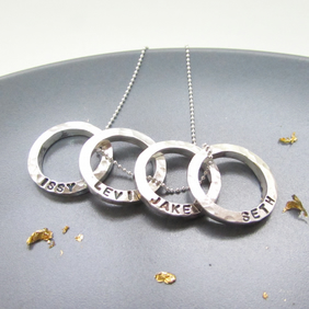 Personalised Mini Four Circles Silver Necklace