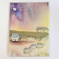"ACEO "" Marshland cottage"" original painting"
