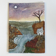 "ACEO. ""Cliffs edge cottage"". Original painting"