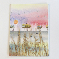 "ACEO "" Abercastle grasses"" original painting"