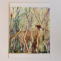 "ACEO  ""Riverside red bird 1"" Original painting"