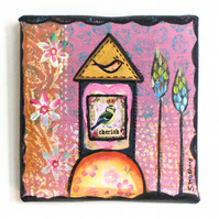 """Little pink birdhouse"" original 4"" x 4"" canvas"