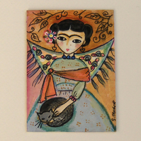 Frida Kahlo with cat ACEO original painting