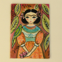 Frida Kahlo with green parrot  ACEO original painting